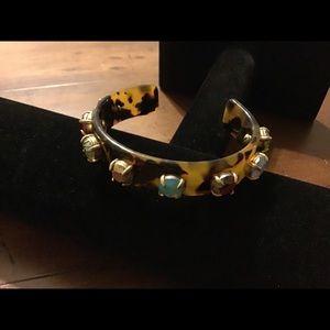 J Crew Embellished Tortoise Shell Cuff Bracelet
